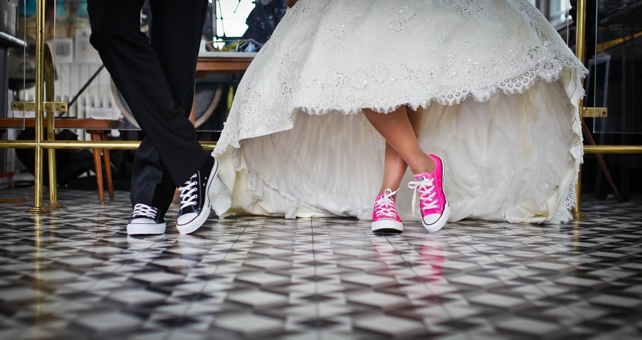 photo of sneakers with wedding outfits