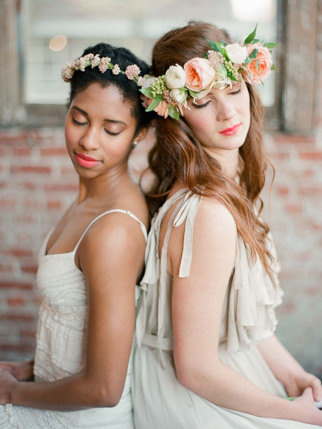 photo of 2 women wearing a flower crown