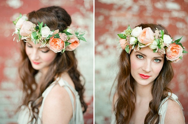 photos of a woman wearing a flower crown
