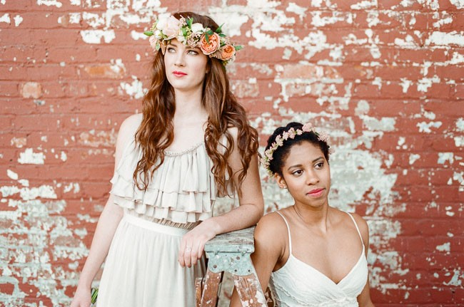 photos of women wearing flower crowns