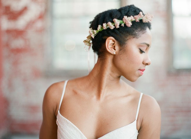 photo of a woman wearing a flower crown